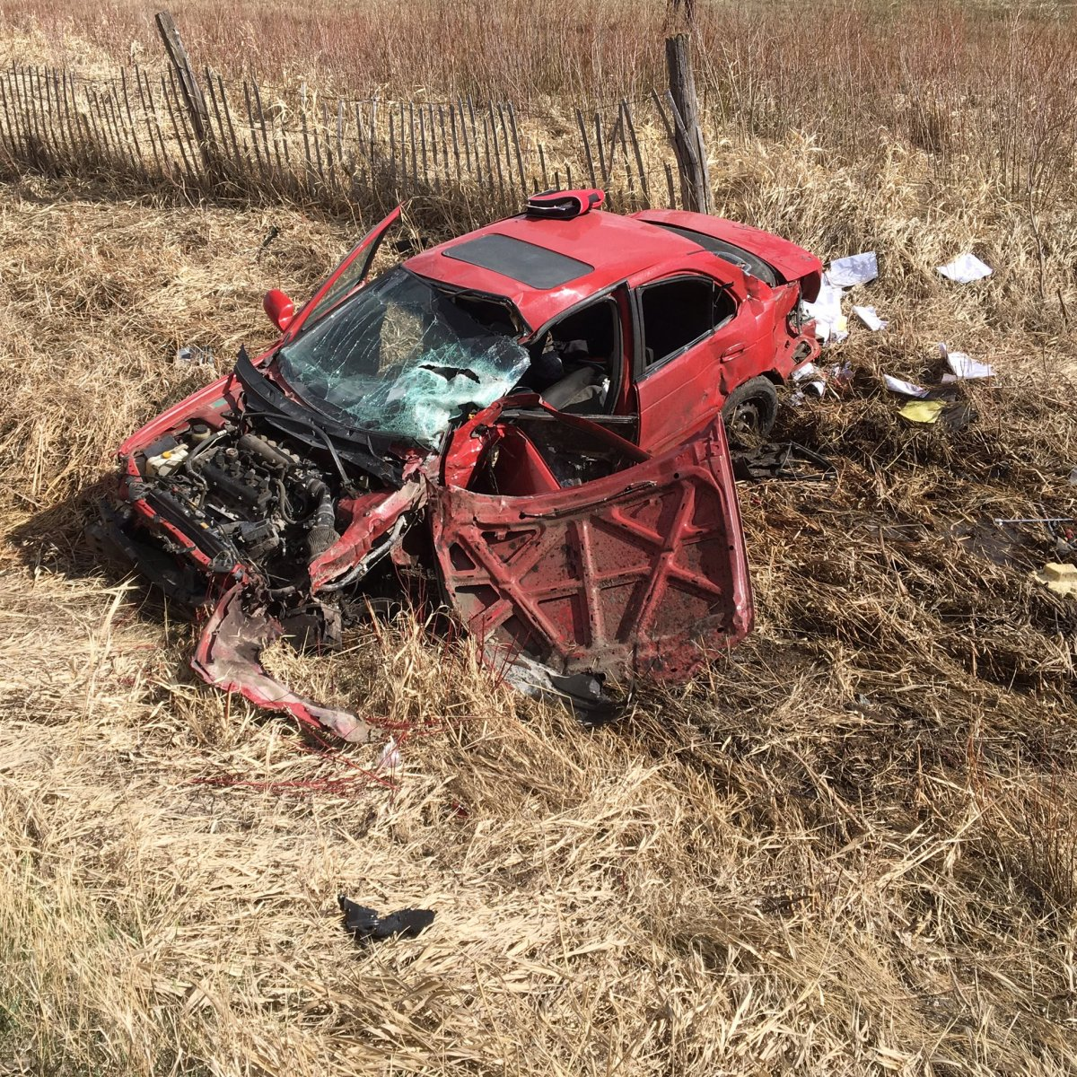This vehicle collided with a train Wednesday afternoon in the RM of Springfield.