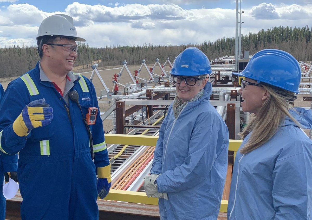 Victoria Mayor Lisa Helps, centre, tours Cenovus' steam-assisted gravity drainage oilsands project at Foster Creek, Alta. Friday, April 26.