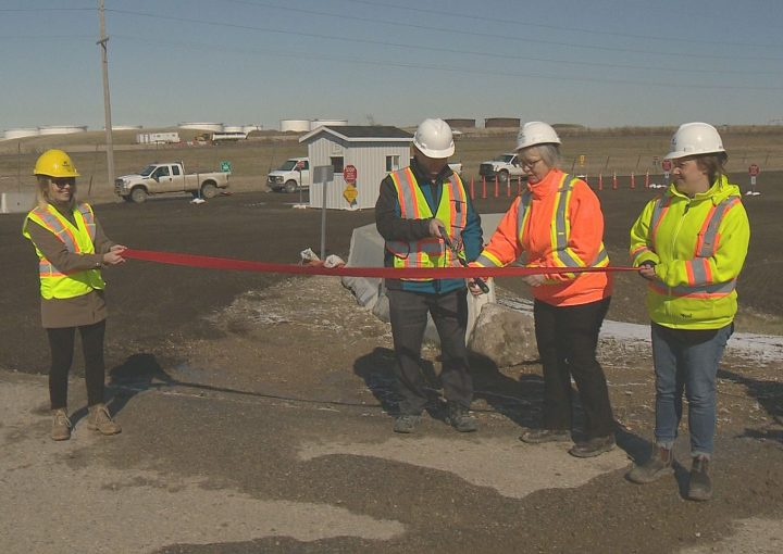 City officials cut the ribbon at the grand opening ceremony of Regina's new yard waste depot.