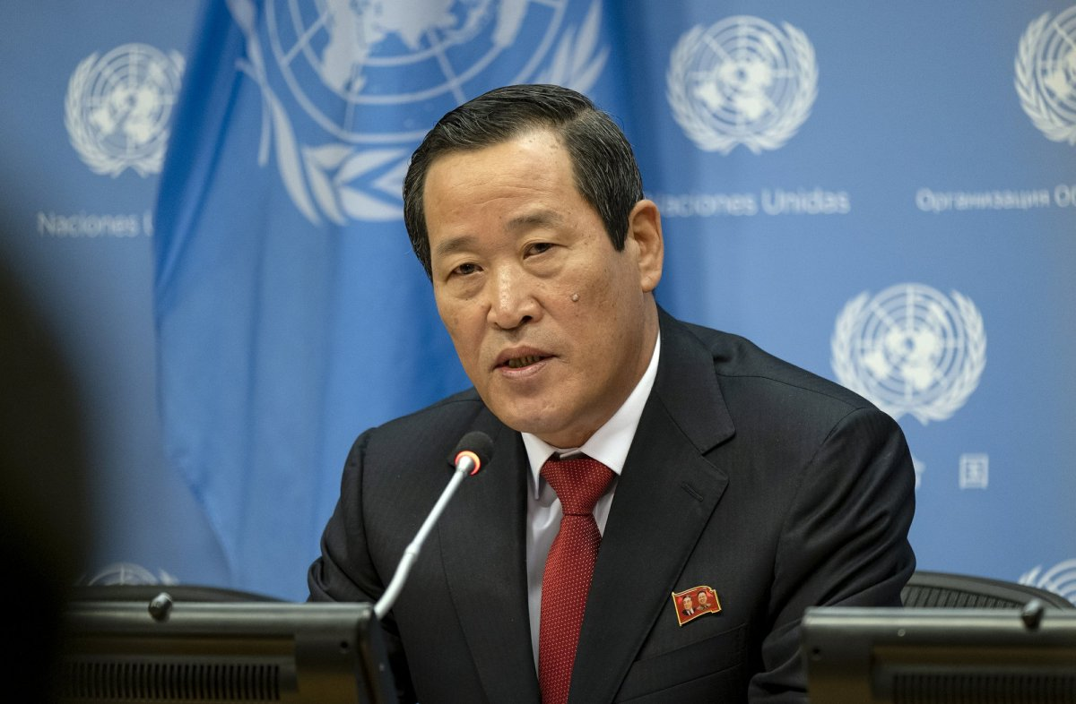 North Korea's U.N. Ambassador Kim Song addresses attendees during a news conference at U.N. headquarters Tuesday, May 21, 2019.