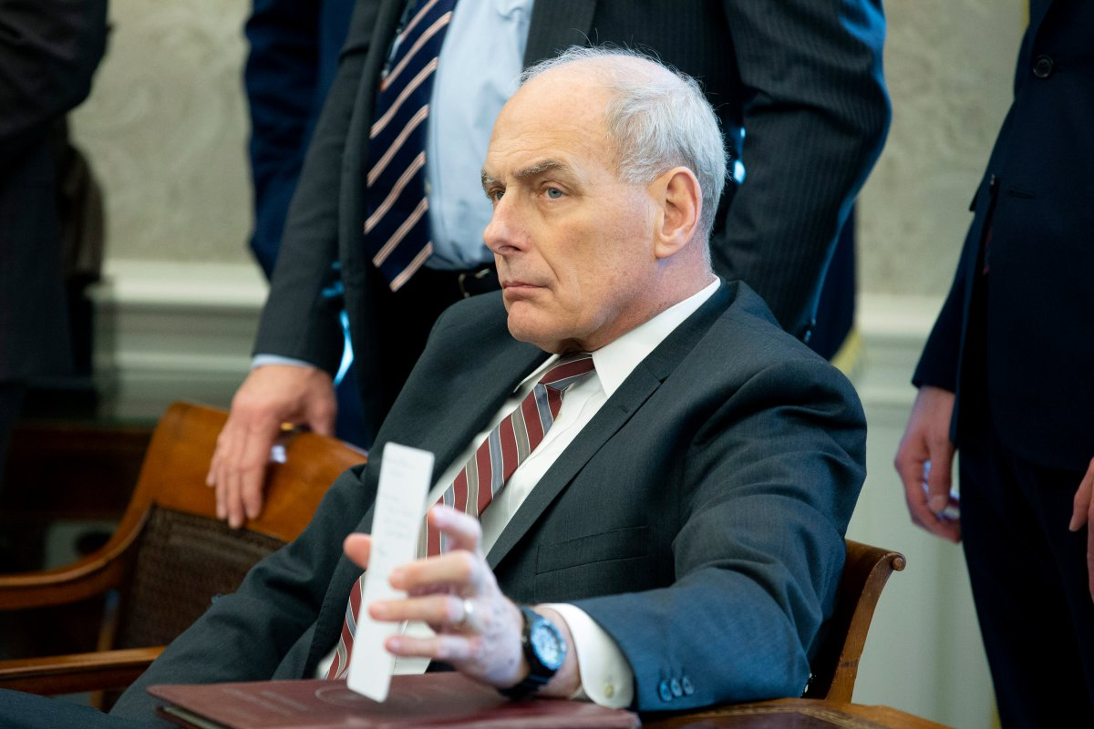 White House Chief of Staff John Kelly attends a meeting between US President Donald J. Trump and US House Speaker-designate Nancy Pelosi and US Senate Minority Leader Chuck Schumer, in the Oval Office of the White House in Washington, DC, USA, 11 December 2018.