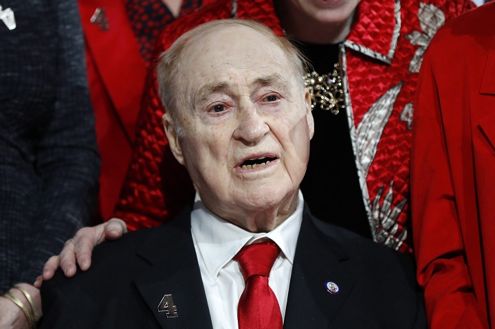 Former Detroit Red Wings player Red Kelly watches his jersey retirement ceremony before an NHL hockey game against the Toronto Maple Leafs, Friday, Feb. 1, 2019, in Detroit.