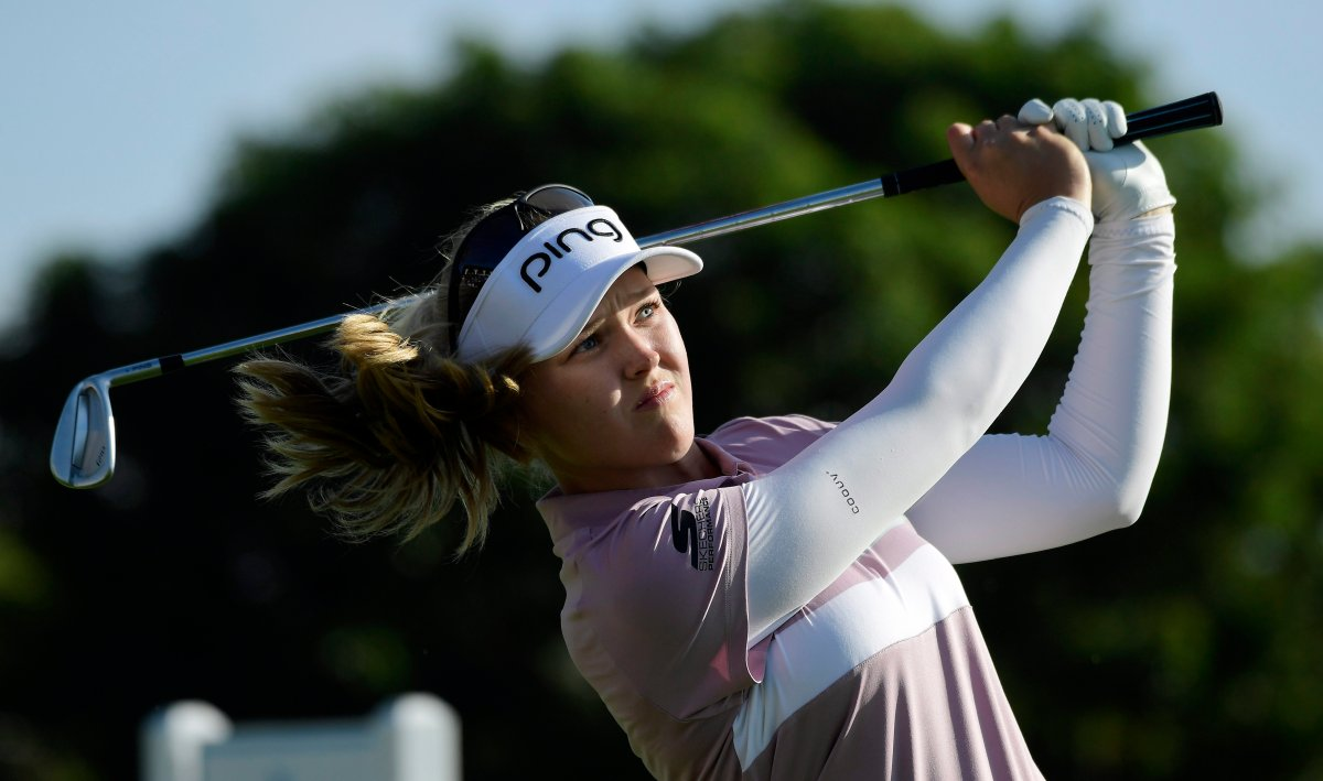 Brooke Henderson tees off on the 18th hole during the first round of the HUGEL-Air Premia LA Open golf tournament at Wilshire Country Club Thursday, April 25, 2019, in Los Angeles.
