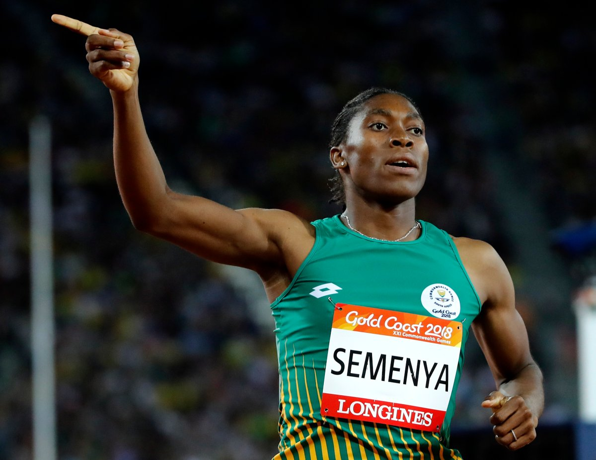 South Africa's Caster Semenya celebrates after winning the woman's 800m final at Carrara Stadium during the 2018 Commonwealth Games on the Gold Coast, Australia.