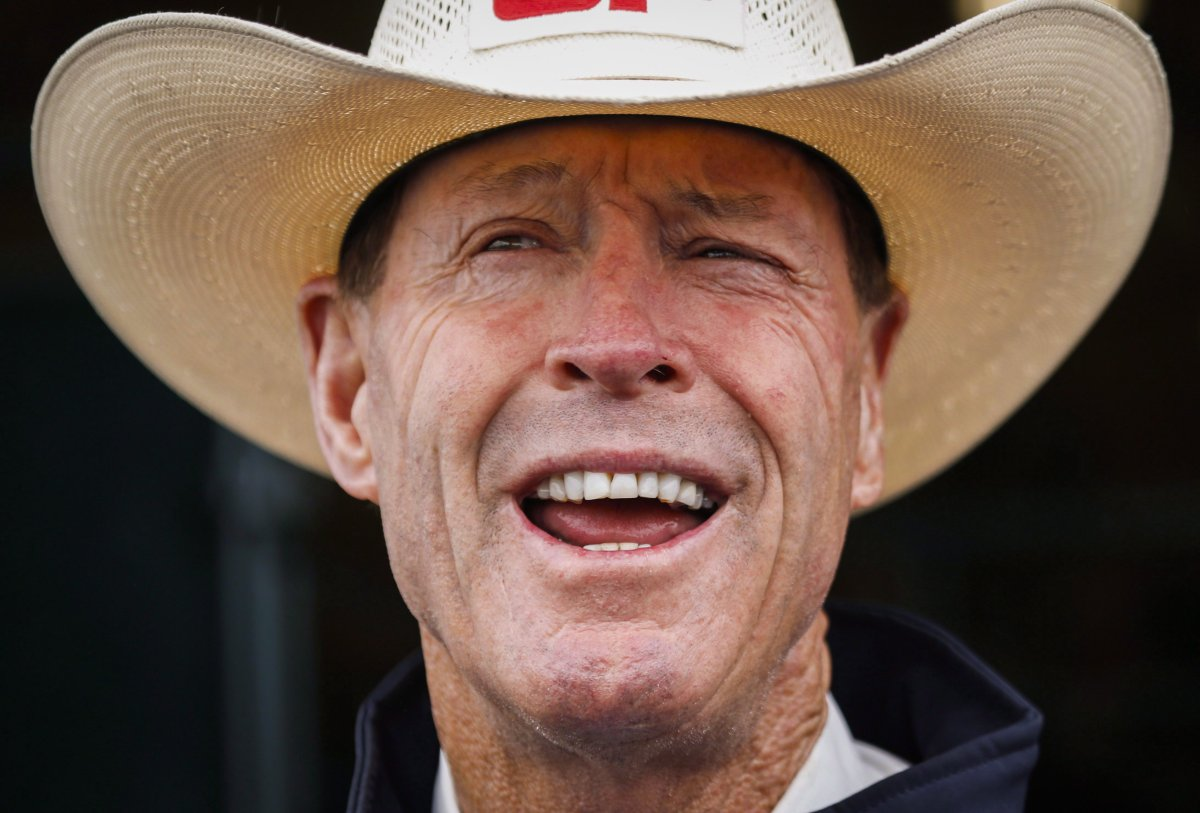 Ian Millar, from Perth, Ont., a Canadian Equestrian Team athlete in show jumping, speaks to reporters at Spruce Meadows in Calgary, Alta., Tuesday, June 2, 2015.