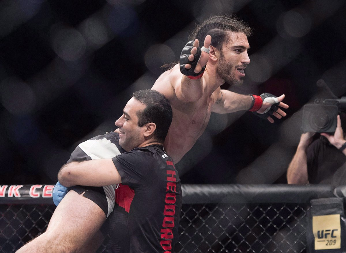 Elias Theodorou from Mississauga, Ont. celebrates his unanimous decision over Cezar Ferreira from Brazil in a middleweight bout at UFC Fight Night in Halifax on Sunday, Feb. 19, 2017. Is the UFC coming to Canada or is it the other way around. UFC Ottawa Fight Night is set to invade Canadian Tire Centre Saturday, and although the main bout features two American fighters, there is no shortage of Canadians on the card that are looking to leave a mark in more ways than one.