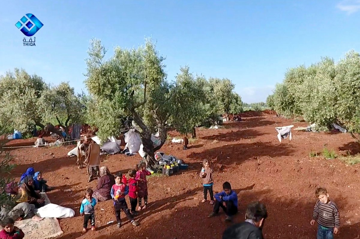 This frame grab from video provided by the activist-operated Thiqa News Agency, shows residents displaced from the latest violence that hit the last rebel stronghold, taking refuge in olives orchids near the town of al-Atmeh, in northern Idlib, Syria, Thursday, May 9, 2019.