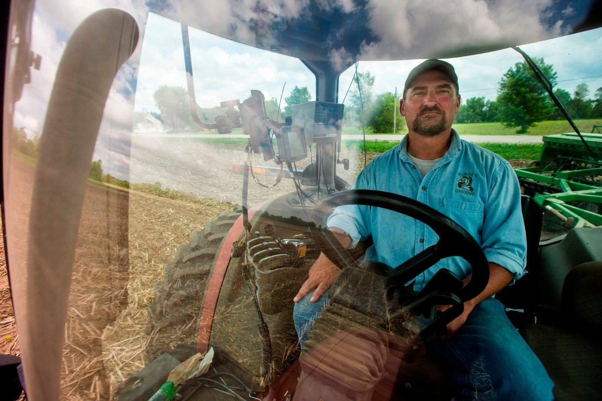 In this May 22, 2019, photo, farmer Tim Bardole plants a field near Perry, Iowa.