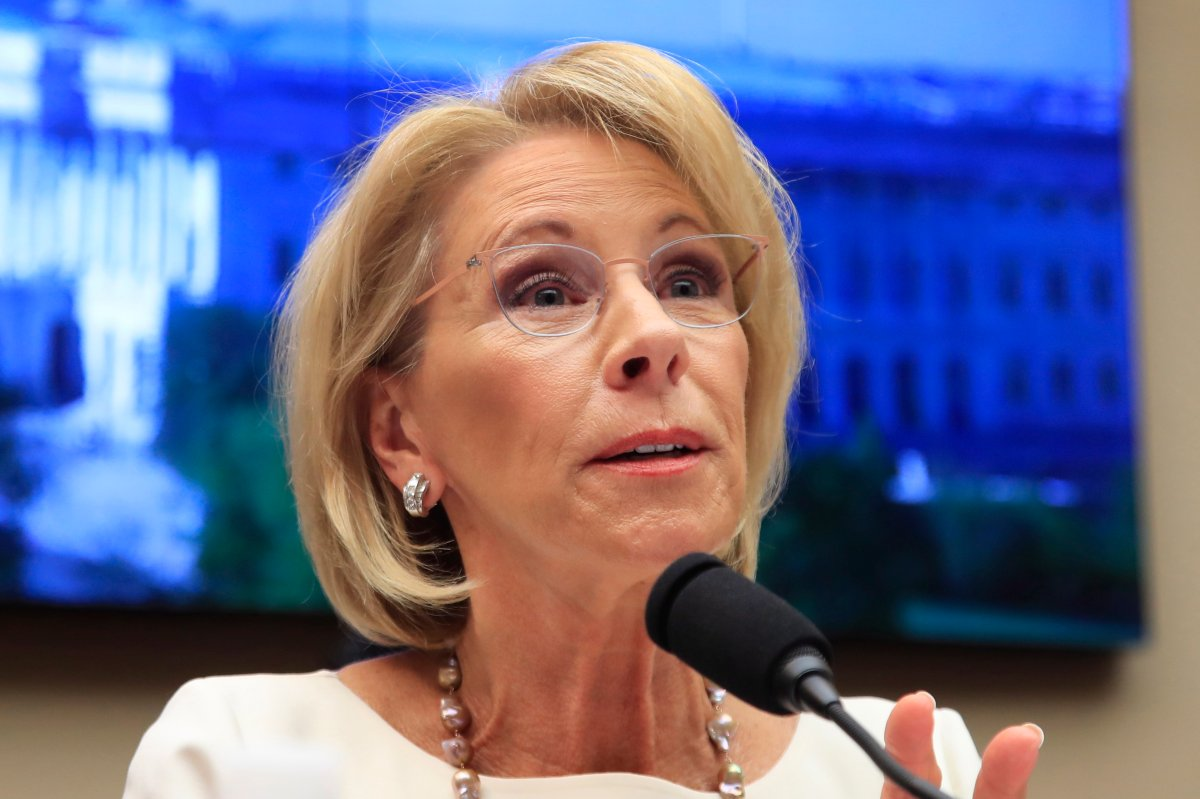 FILE - In this April 10, 2019, file photo, Education Secretary Betsy DeVos testifies on Capitol Hill in Washington.