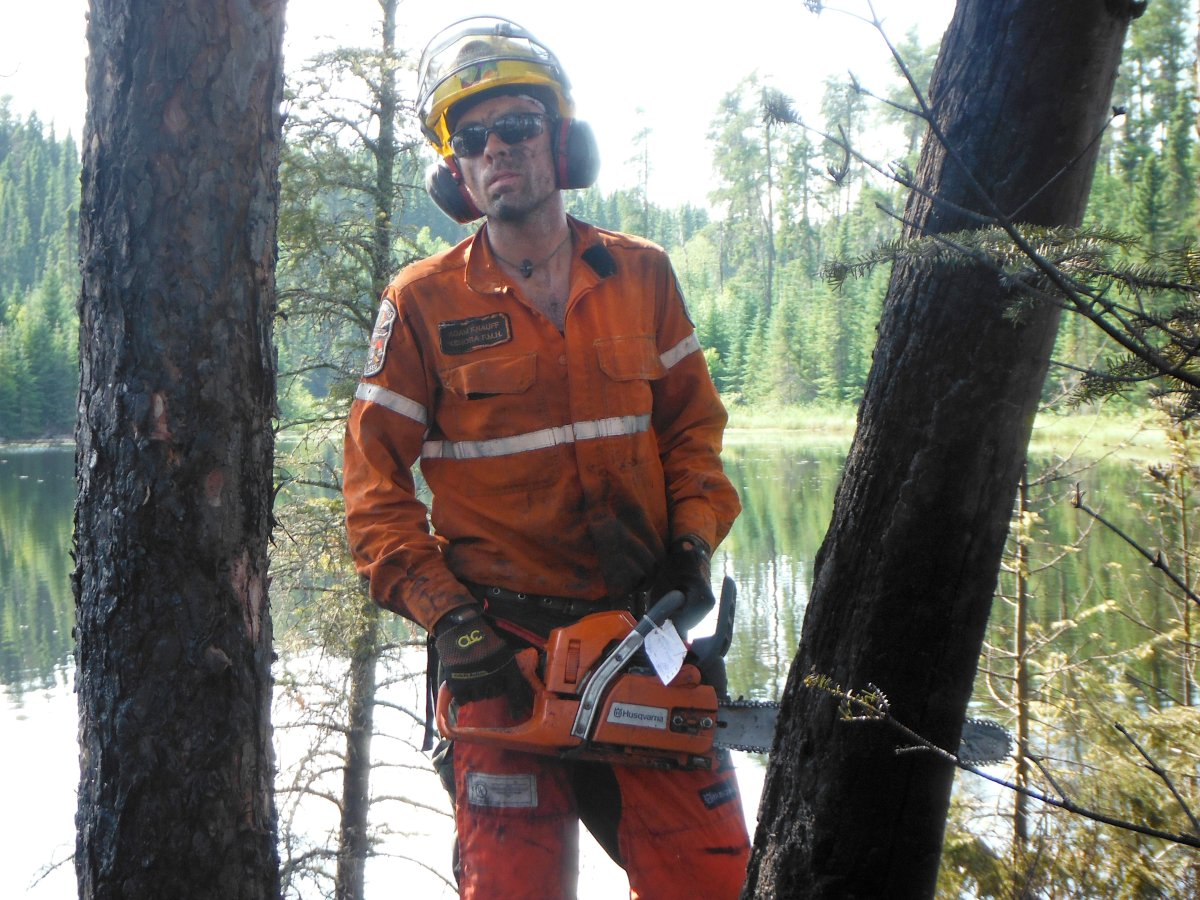 Ontario firefighter Adam Knauff, shown in a handout photo supplied by Knauff, alleges his human rights were violated when he was not provided sufficient vegan food while battling a massive blaze in British Columbia.