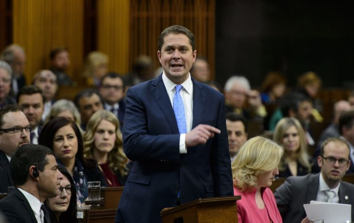 Conservative Leader Andrew Scheer stands during question period in the House of Commons on Parliament Hill in Ottawa on Wednesday, May 8, 2019.