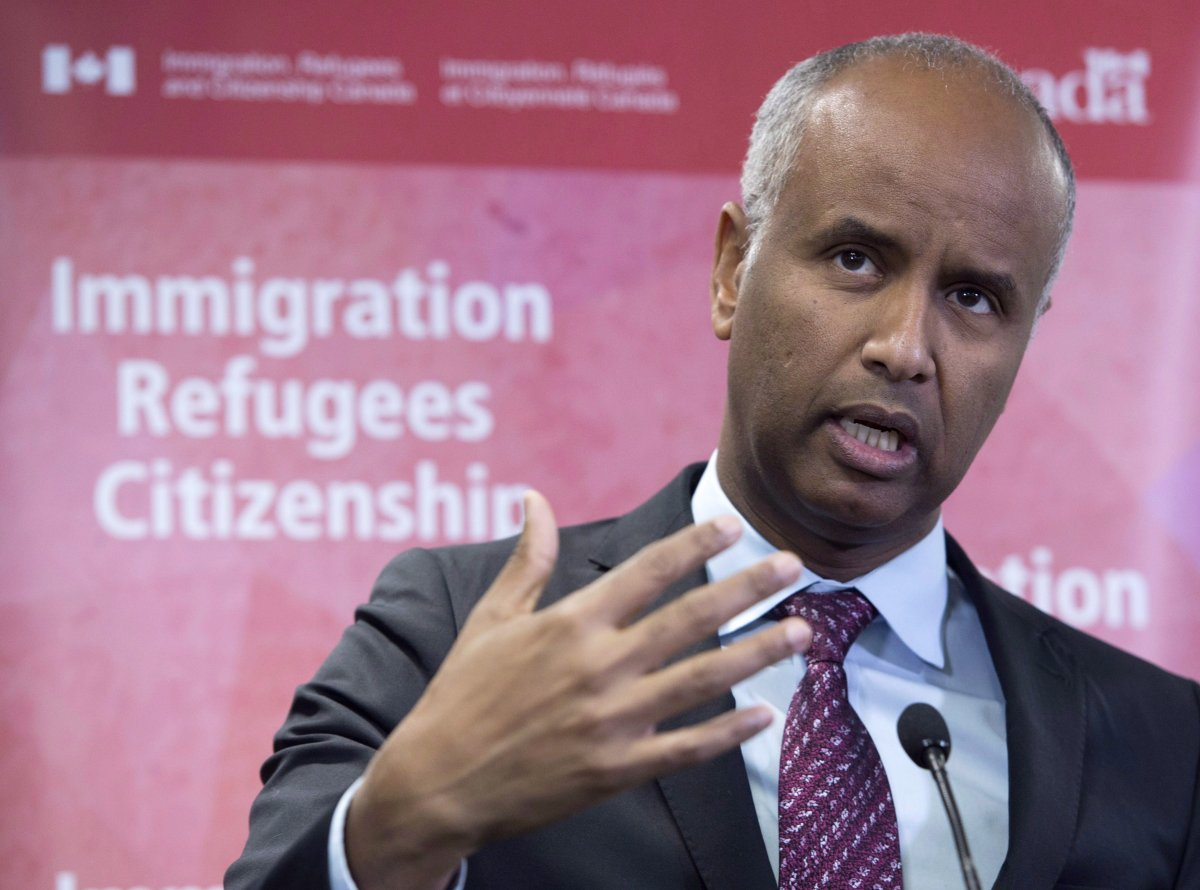 Minister of Immigration Ahmed Hussen makes an announcement in Toronto in a January 14, 2019, file photo.