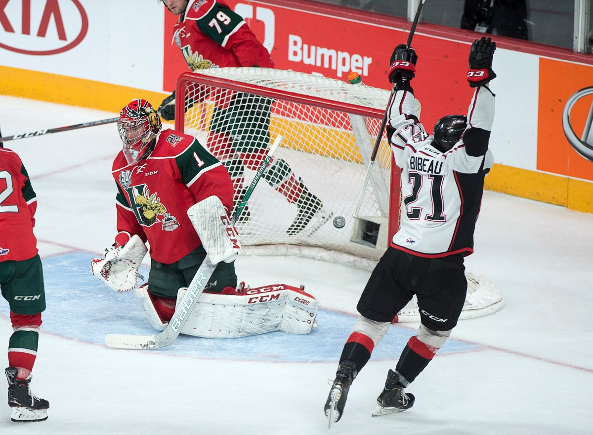 Rouyn-Noranda Huskies' Felix Bibeau scores on Halifax Mooseheads goaltender Alexis Gravel in second period Memorial Cup championship action in Halifax on Sunday, May 26, 2019.