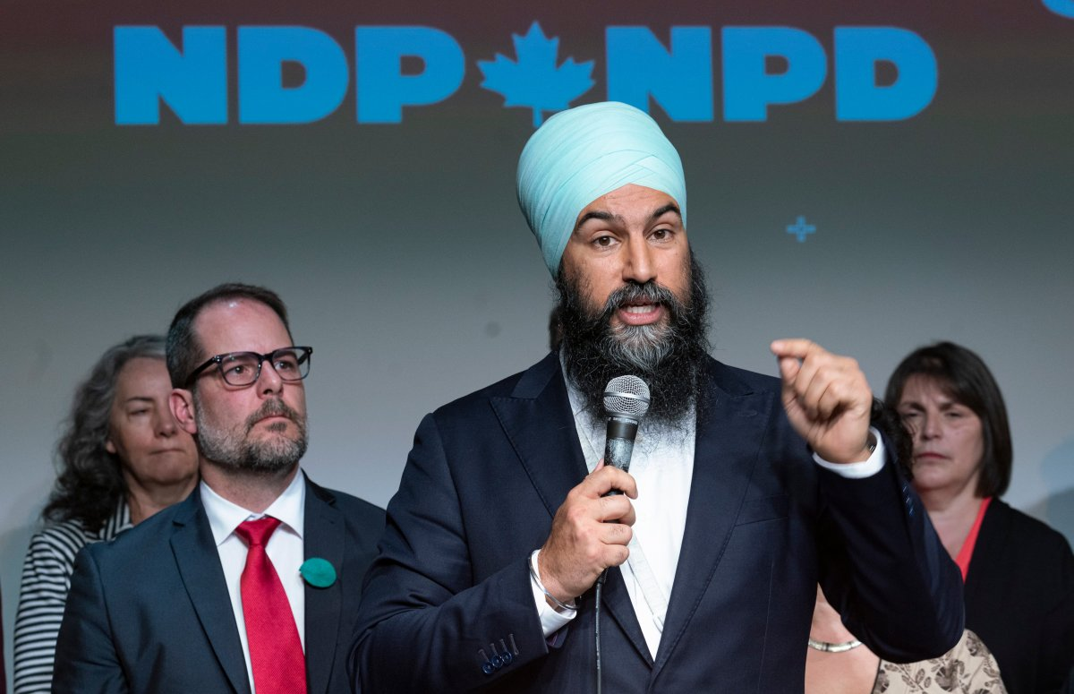 NDP Leader Jagmeet Singh presents the party's plan for climate change as deputy leader Alexandre Boulerice looks on in Montreal on Friday, May 31, 2019.