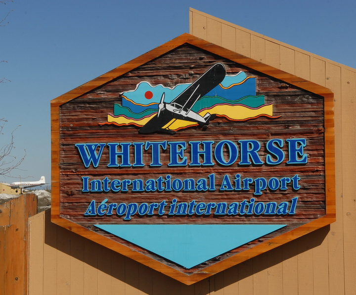 A welcome sign outside the Whitehorse International Airport in Whitehorse, Yukon Territory.