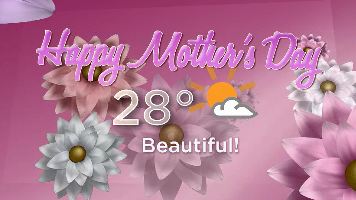 A beautiful 28-degree day is on the way for Mother's Day this weekend.