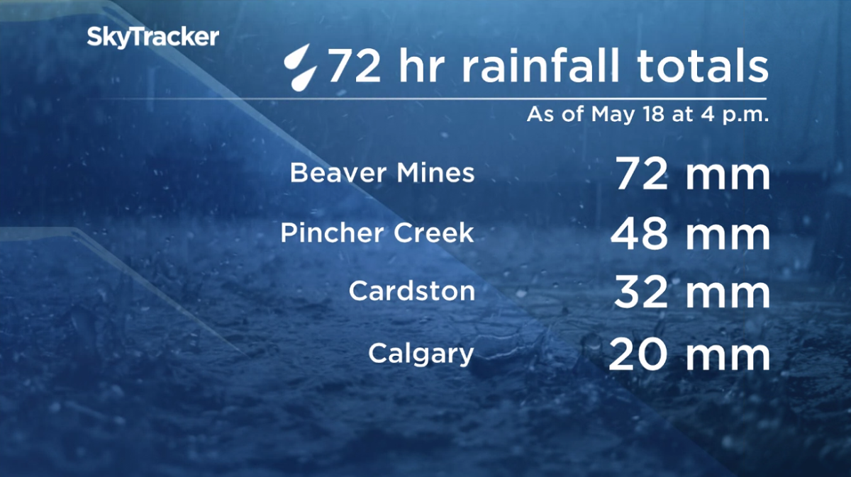 72 hour rainfall totals recorded by Environment Canada as of 4 p.m. on Saturday, May 18.