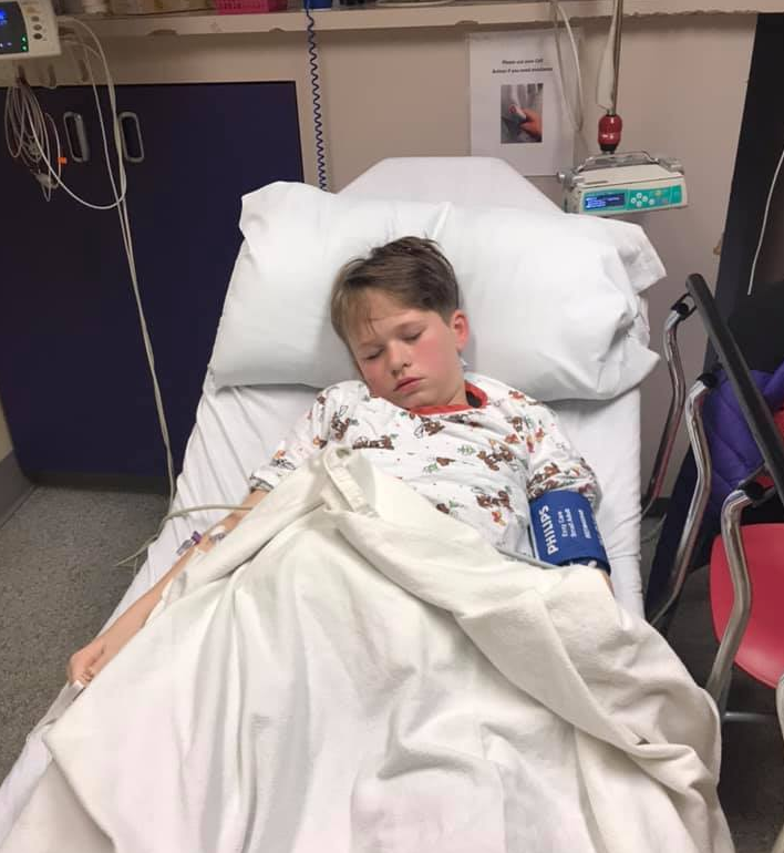 Ten-year-old Brady Tovell required surgery after a wire from a barbcue bristle became lodged in his bowel.