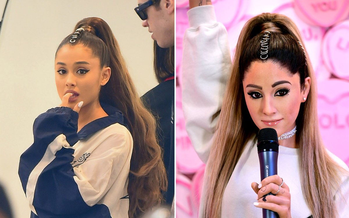 (L-R): The real Ariana Grande and Madame Tussauds London's wax figure of Ariana Grande.