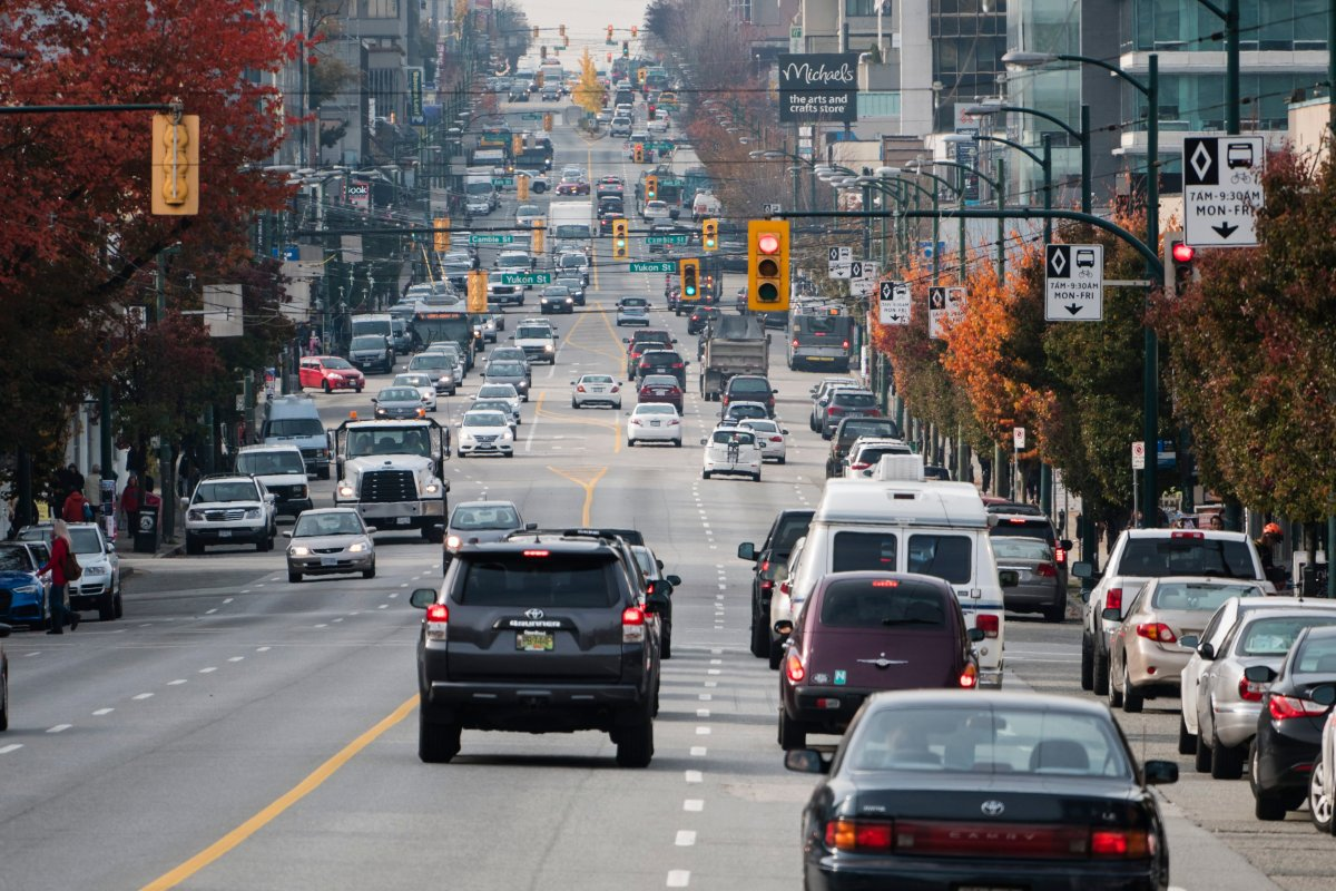 Traffic on West Broadway Avenue, Vancouver, B.C. in this file photo.