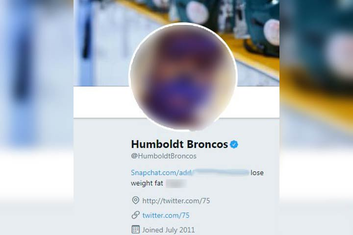 The official Twitter account of the Humboldt Broncos hockey team was hacked on Wednesday, May 8.