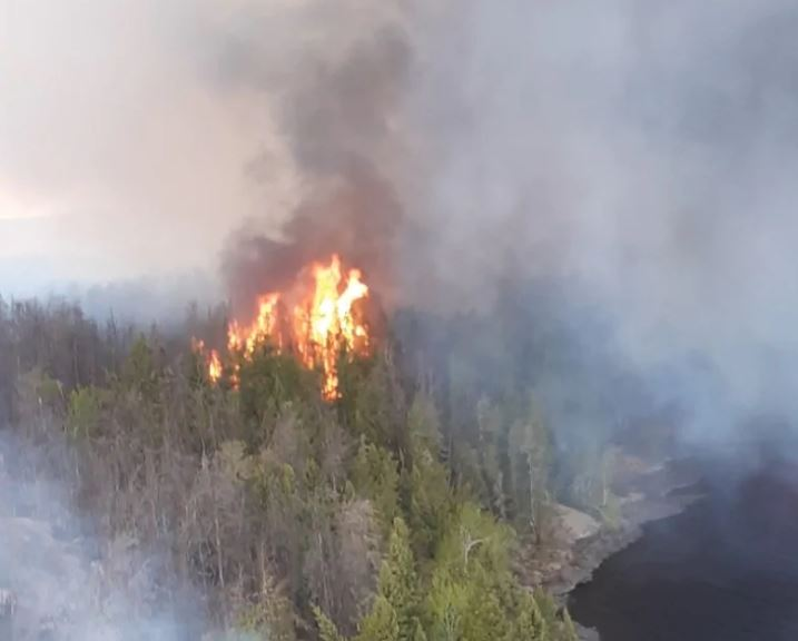 Fire burns near Pauingassi First Nation in Manitoba.