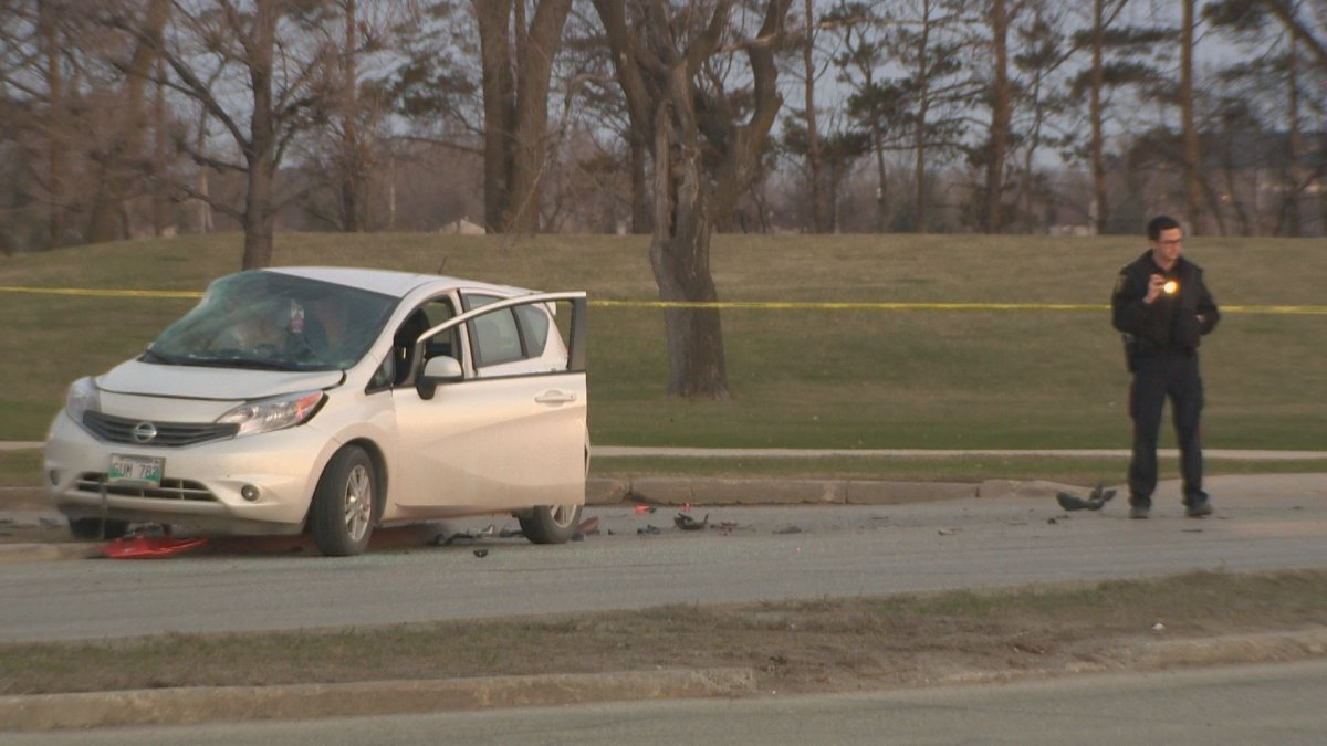 One person is in critical condition after a car collided with a motorcycle Thursday on Pembina near Chancellor Matheson.
