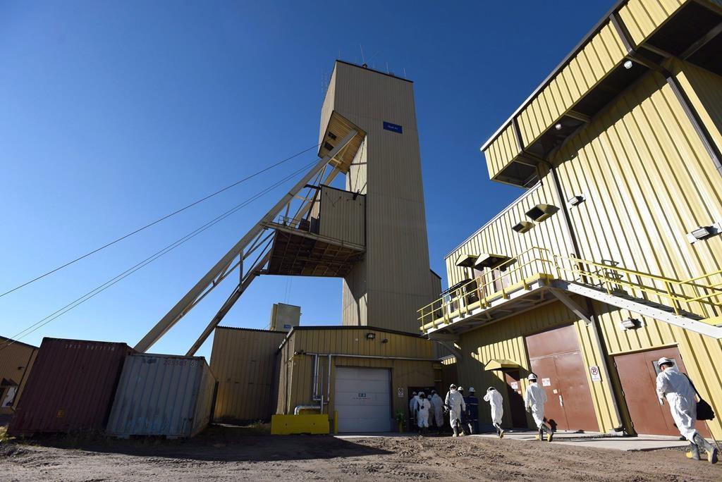 Media enter the head frame during a Cameco media tour of the uranium mine in Cigar Lake, Sask. Wednesday, September 23, 2015.