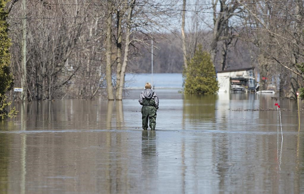 A woman wades through floodwaters on a residential street in the town of Rigaud, Que, west of Montreal, Monday, April 22, 2019.