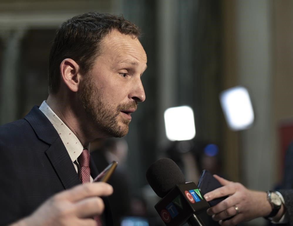 Opposition Leader Ryan Meili speaks to media during budget bay at the Legislative Building in Regina on Wednesday March 20, 2019. Saskatchewan's Opposition NDP leader is apologizing for the Sixties Scoop.THE CANADIAN PRESS/Michael Bell.