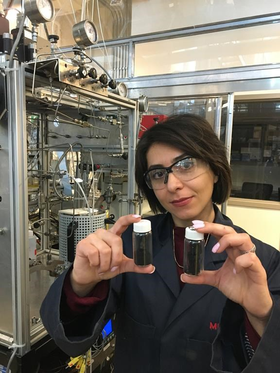 Mina Zarabian from the chemical engineering department at the University of Calgary shows the carbon nanofibres created through a new process that changes greenhouse gases into the fibres which can be used in cars, airplanes and construction materials.