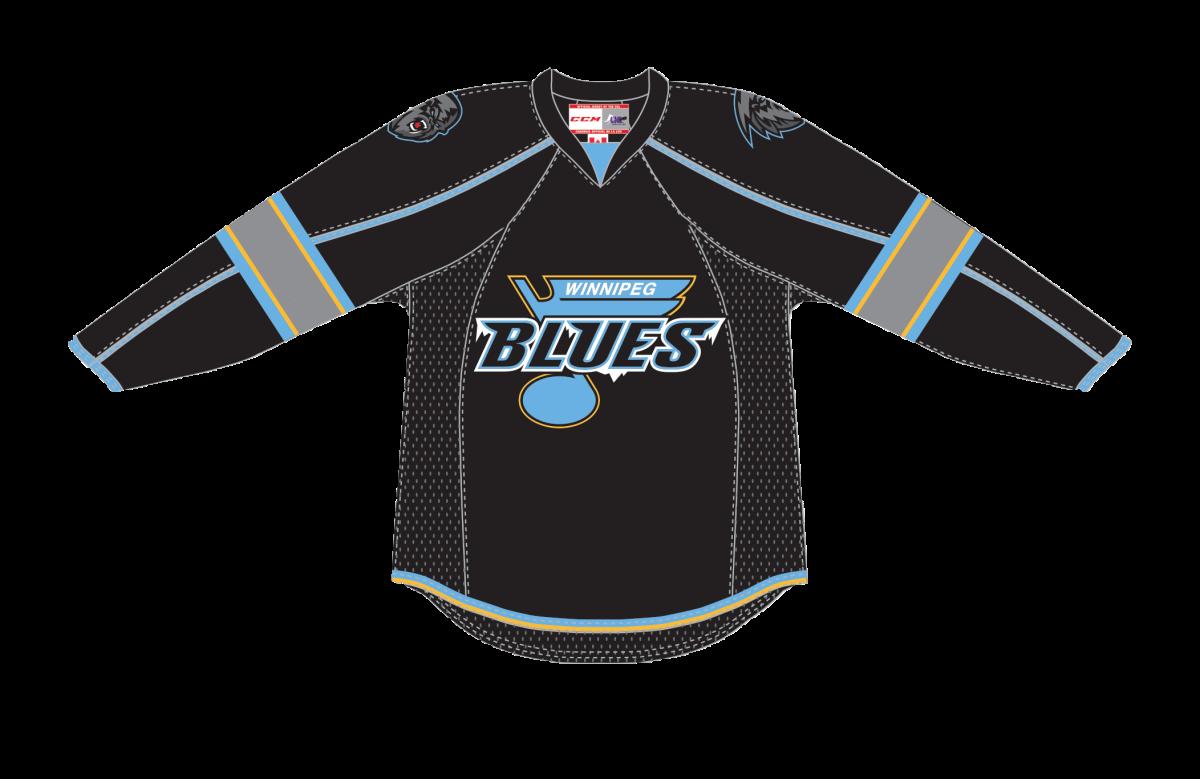 The Winnipeg Blues dark jersey.