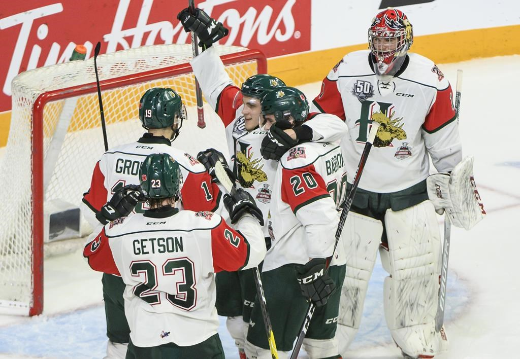 Members of the Halifax Mooseheads celebrate going to the Memorial Cup final despite a 4-3 loss to the Rouyn-Noranda Huskies during Memorial Cup hockey action in Halifax on Wednesday, May 22, 2019.