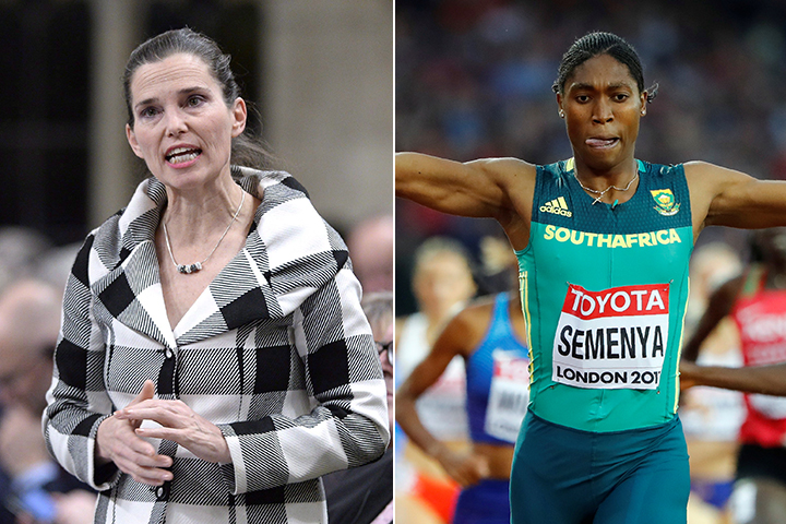 Cabinet minister Kirsty Duncan and South African runner Caster Semenya appear in file photos.