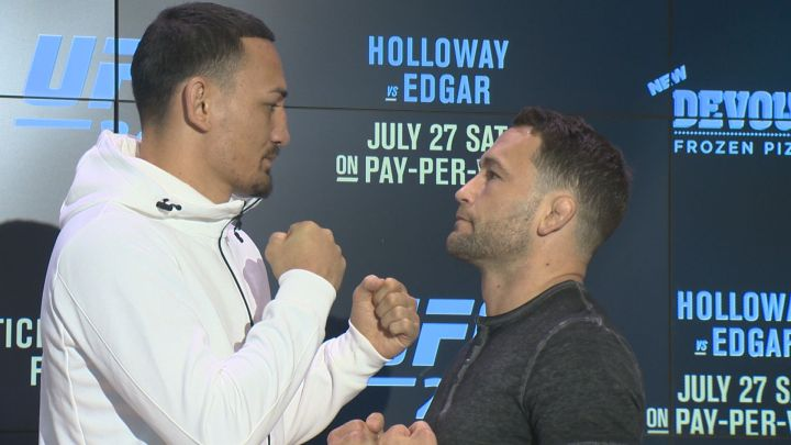 Max Holloway (left) and Frankie Edgar (right) were in Edmonton on Wednesday to publicize tickets for UFC 240 going on sale Friday.