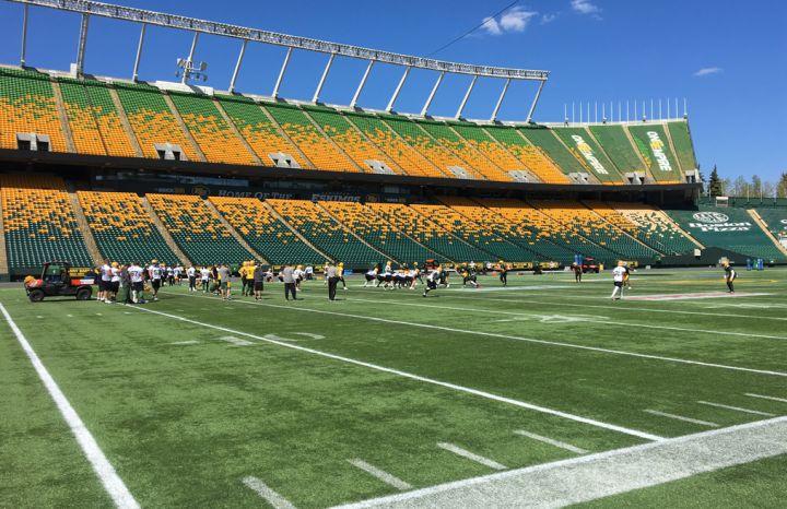 The Edmonton Eskimos at training camp at Commonwealth Stadium on May 20, 2019,.