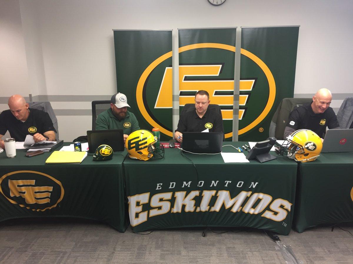 The Edmonton Eskimos war room before the start of the 2019 CFL Draft.
