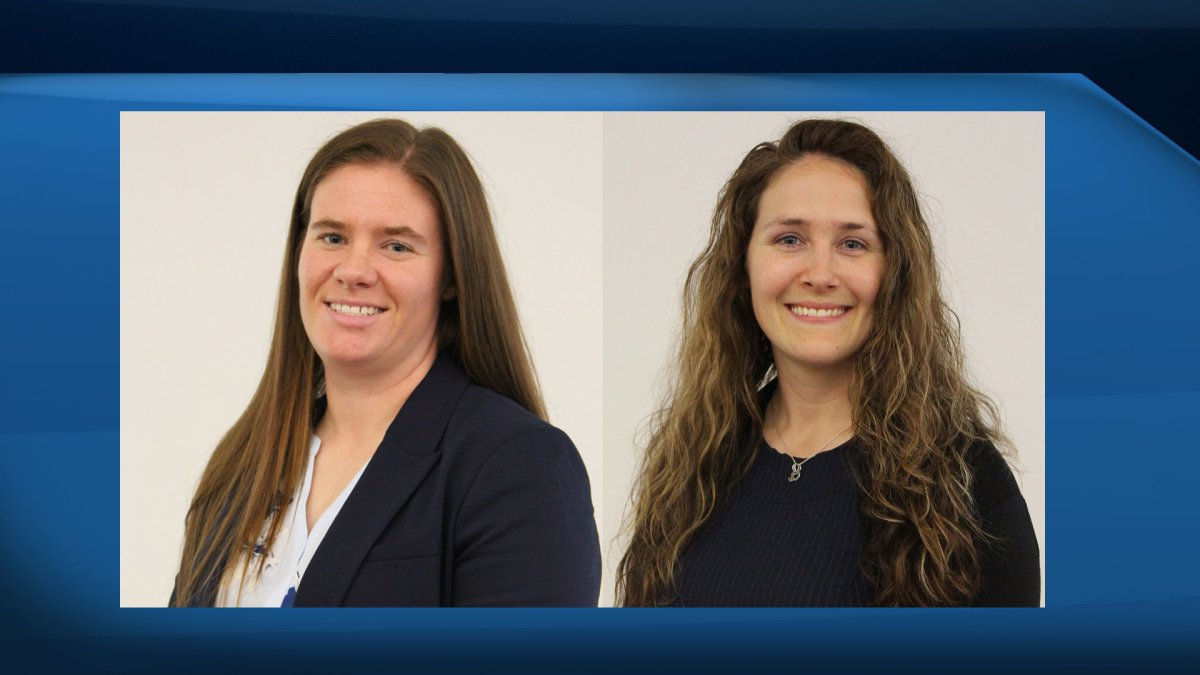 Football officials Emily Clarke and Georgina Paull shown in handout photos. Clarke and Paull are two officials who'll be working tonight's Calgary-Saskatchewan CFL exhibition game.