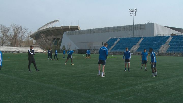 FC Edmonton players practise in Alberta's capital on May 9, 2019.