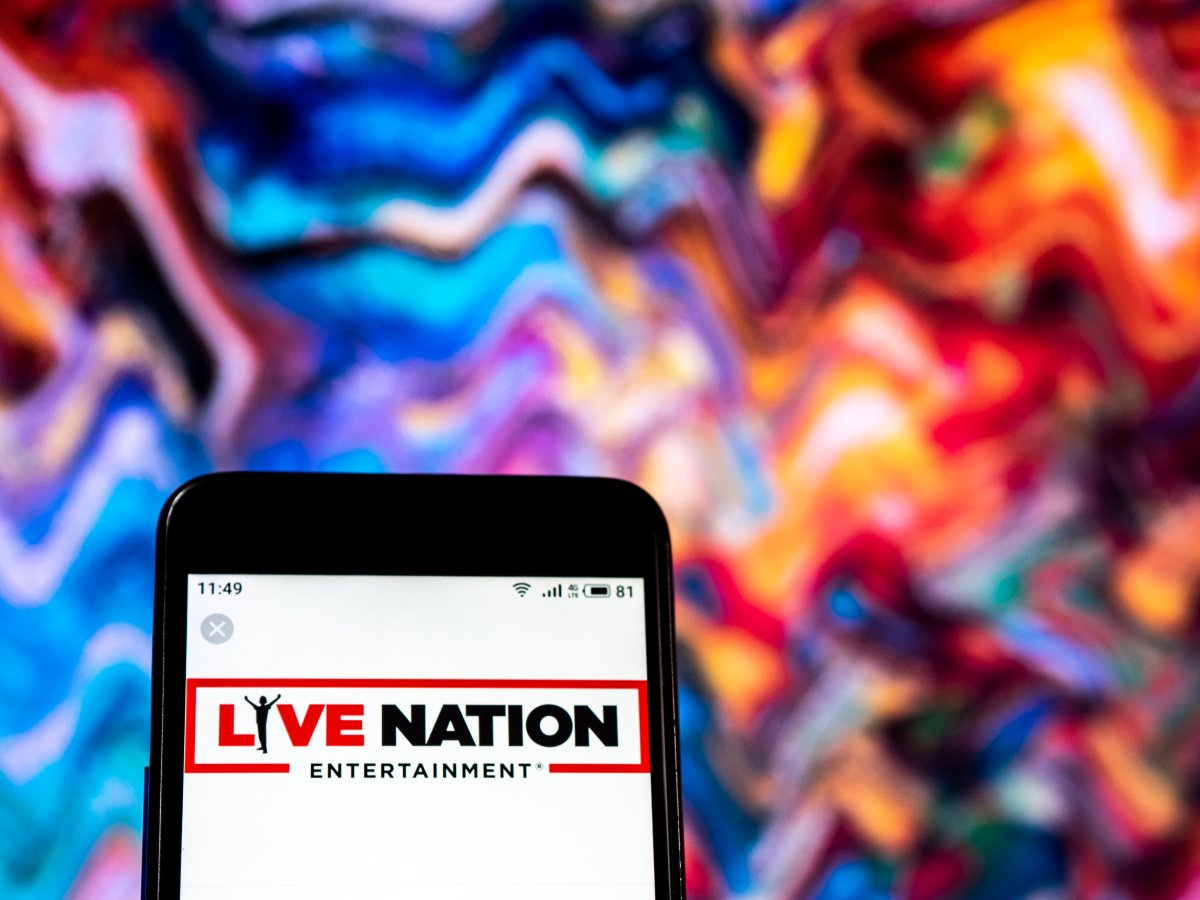 The Live Nation entertainment company logo seen displayed on a smartphone.