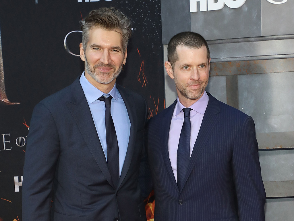 (L-R) David Benioff and D.B. Weiss attend the Season 8 premiere of 'Game of Thrones' at Radio City Music Hall on April 3, 2019 in New York City.