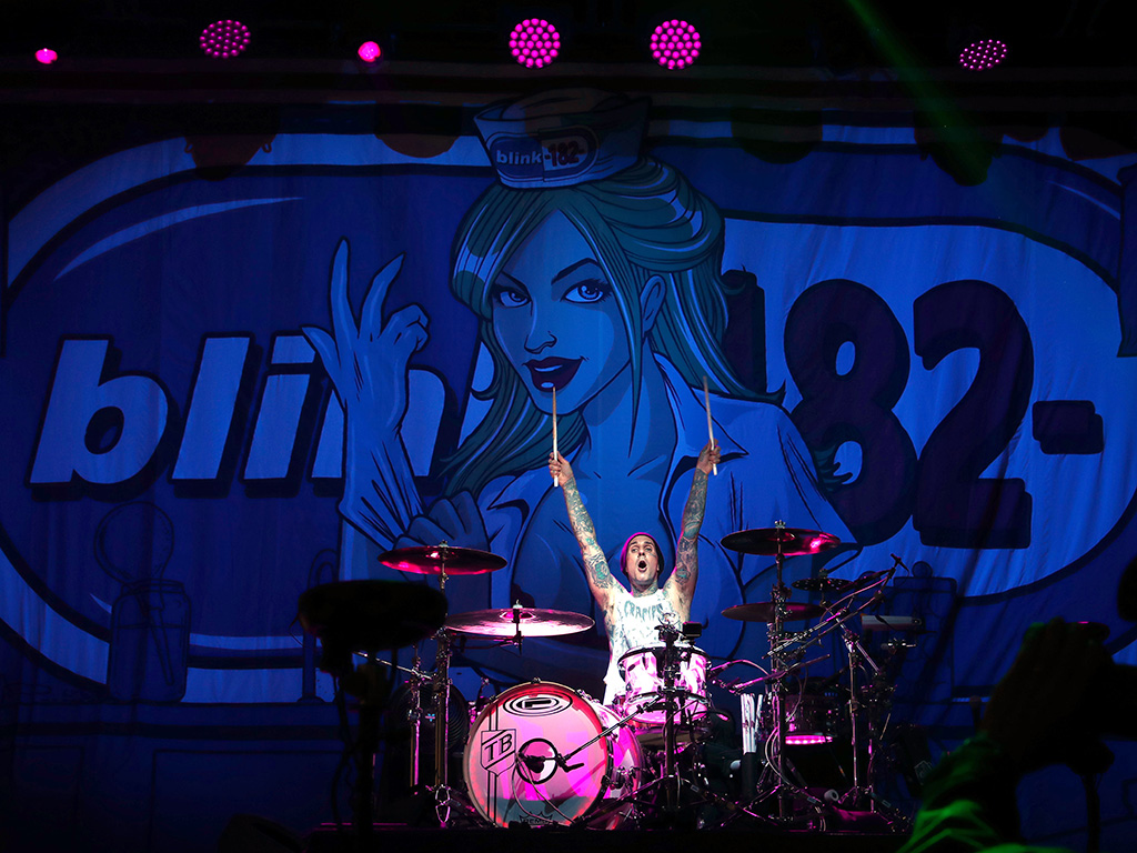 Travis Barker of Blink-182 performs at KROQ at Huntington State Beach on April 27, 2019 in Huntington Beach, Calif.