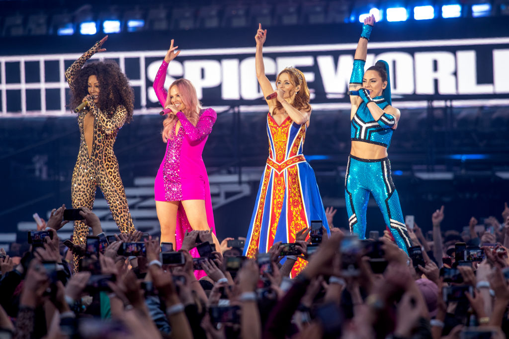 (L-R) Mel B, Emma Bunton, Geri Halliwell and Melanie C of The Spice Girls perform on the first night of the bands tour at Croke Park on May 24, 2019 in Dublin, Ireland.