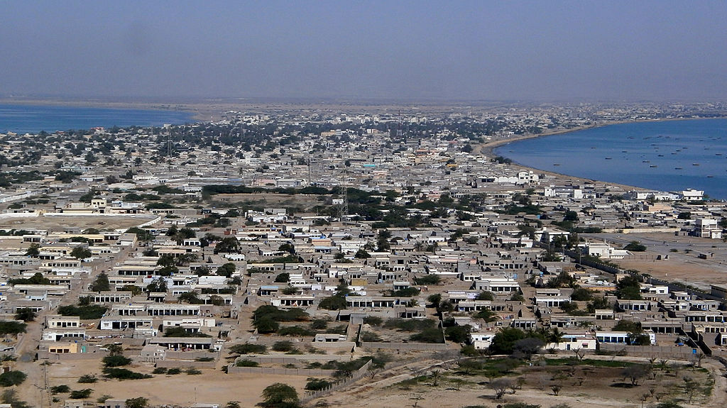 This photograph taken on February 12, 2013 shows the residential area of Gwadar port in the Arabian Sea.