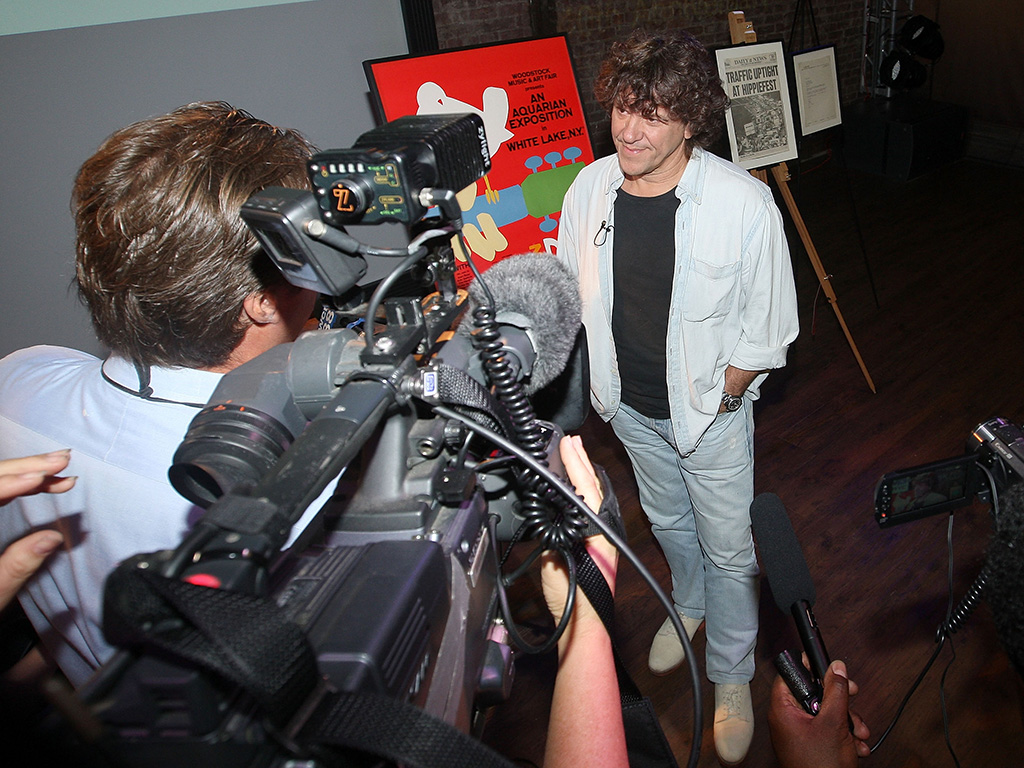 Woodstock Music Festival co-producer Michael Lang is interviewed during a celebration of the 40th anniversary of Woodstock at the at Rock & Roll Hall of Fame Annex NYC on Aug. 13, 2009 in New York City.