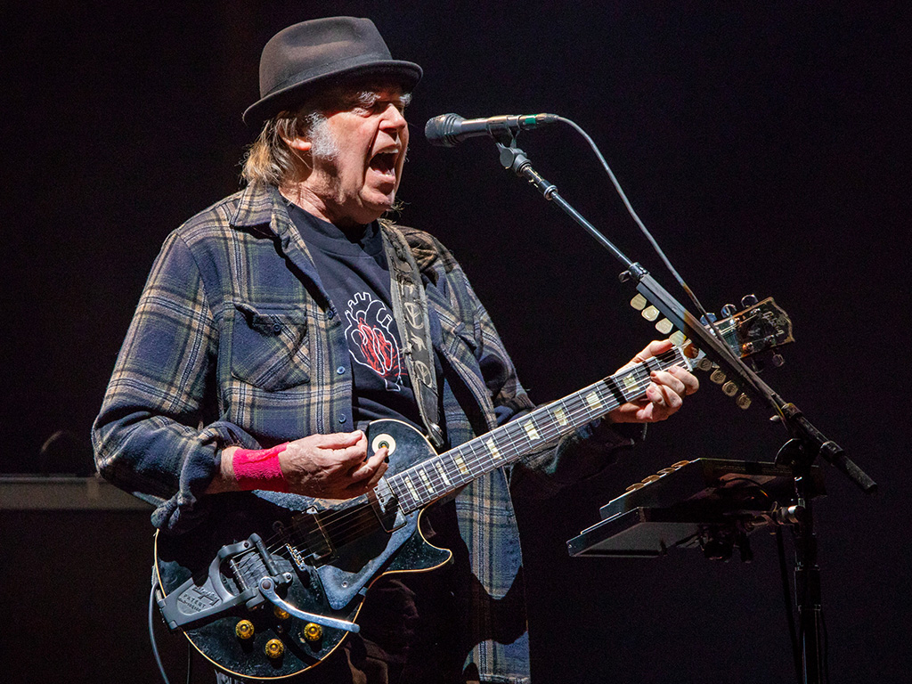 Neil Young performs on Day 2 of Festival d'Ete de Quebec on July 6, 2018 in Quebec City.