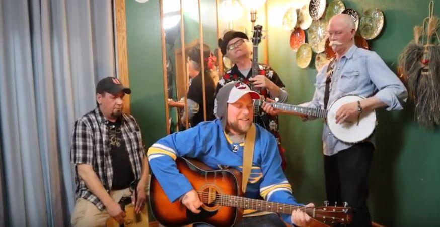 Winnipeg Jets fans (from left) Paul Pommer, Josh Kapitan, Patrick Boggs and John Redekop.