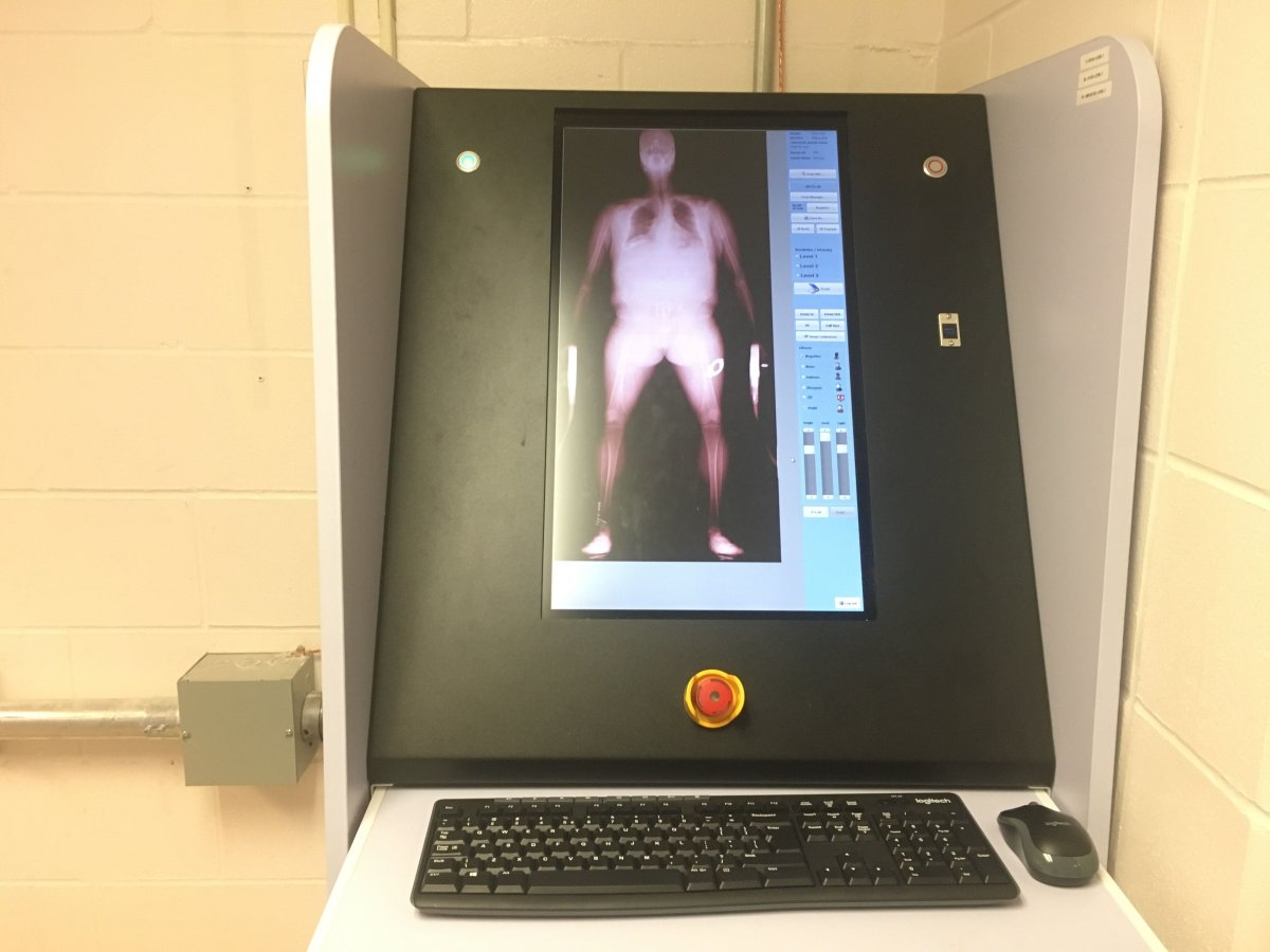 The new body scanner at the Winnipeg Remand Centre.