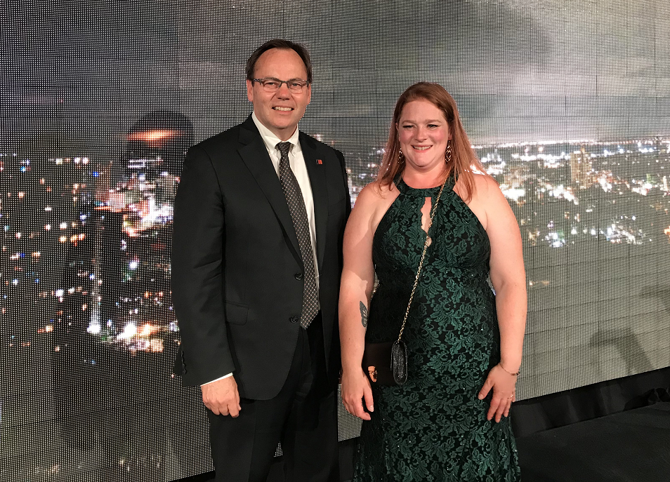 Mohawk College president Ron McKerlie and Mohawk student Sarah Macpherson at the 5th Annual Mohawk College Partnership Dinner, where the college announced its Challenge 2025 initiative.