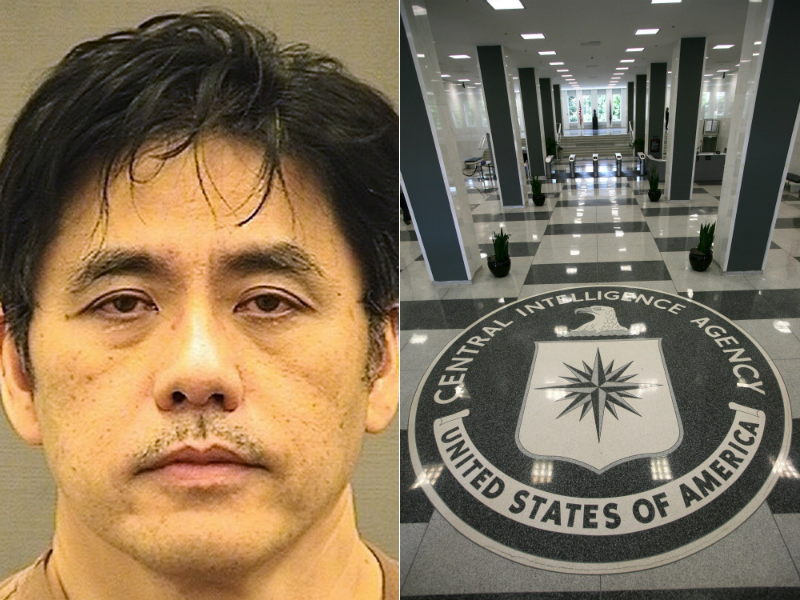 At left, Jerry Chun Shing Lee. At right, the headquarters of the Central Intelligence Agency (CIA).